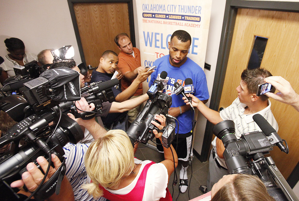 Photo - OKLAHOMA CITY THUNDER NBA BASKETBALL TEAM: New Thunder player Daequan Cook speaks with the media after the Thunder Youth Basketball Camp at the Boys & Girls Club of Oklahoma County, Tuesday, July 27, 2010.  PHOTO BY DAVID MCDANIEL, THE OKLAHOMAN