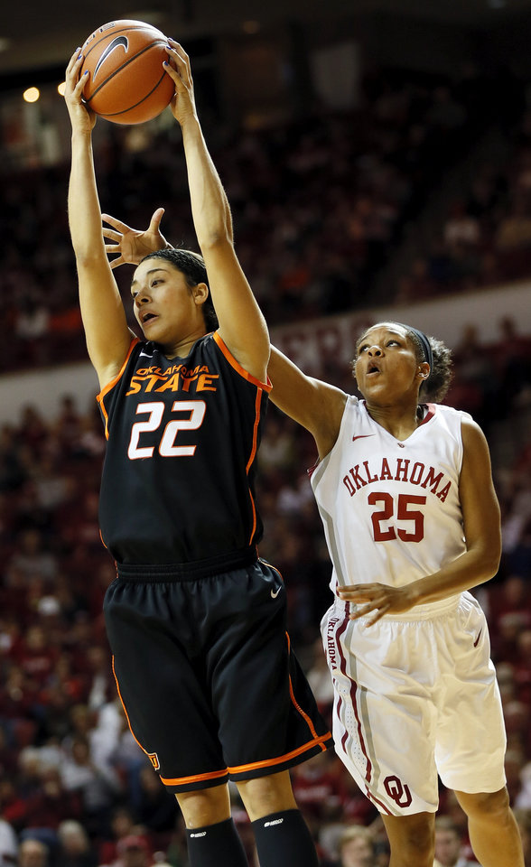 Photo - Oklahoma State's Brittney Martin (22) grabs a rebound in front of Oklahoma's Gioya Carter (25) in the second half during a women's Bedlam college basketball game between the Oklahoma State University Cowgirls (OSU) and the University of Oklahoma Sooners (OU) at Lloyd Noble Center in Norman, Okla., Saturday, Feb. 1, 2014. OU won, 81-74. Photo by Nate Billings, The Oklahoman