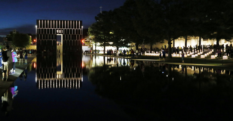 Photo - The Oklahoma City National Memorial before the Oklahoma City Memorial Marathon in Oklahoma City, Sunday, April 24, 2016. Photo by Nate Billings, The Oklahoman