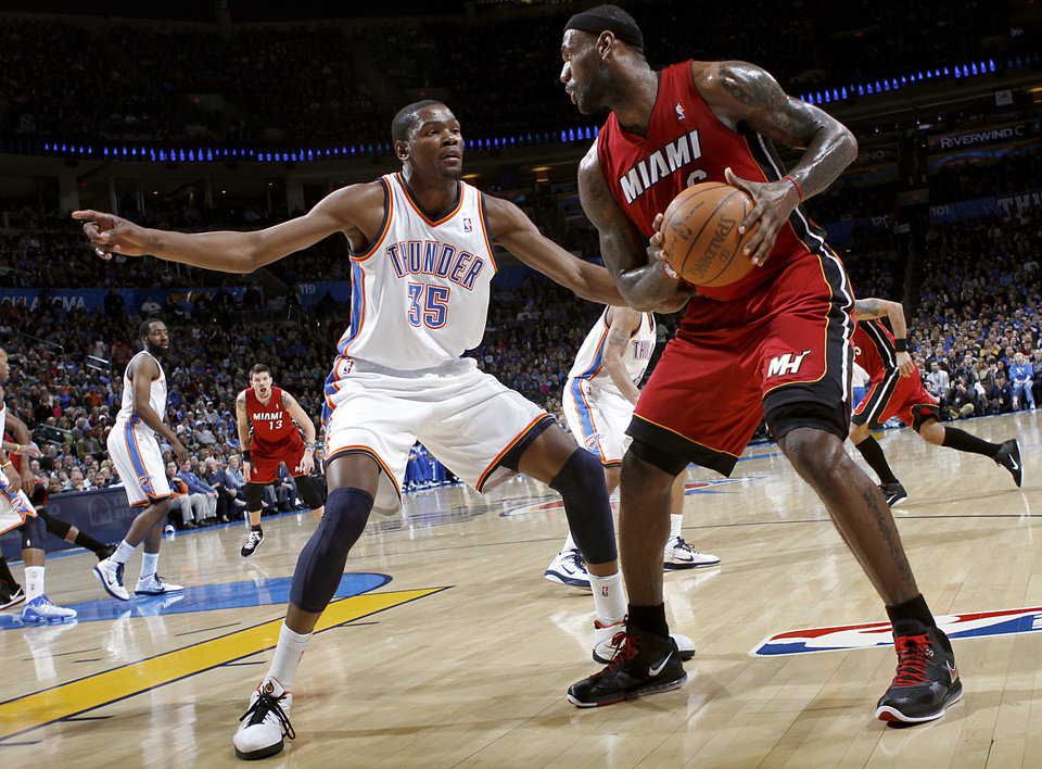 Oklahoma City's Kevin Durant guards Miami's LeBron James during their NBA basketball game at the OKC Arena in Oklahoma City on Thursday, Jan. 30, 2011. Photo by John Clanton, The Oklahoman