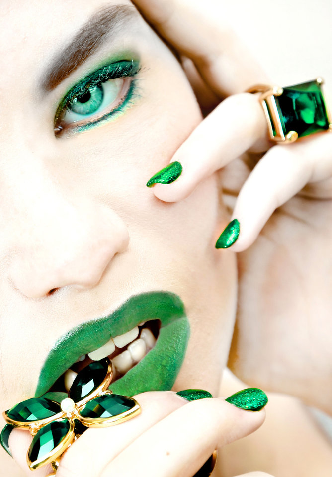 Emerald complements all skin tones, and the deep, rich color is making an impact in beauty and fashion. Ring and necklace from Dillard's, Penn Square Mall. Makeup by Alex Mendez-Kelley, The MakeUp Bar. Model is Micayala. Photo by Chris Landsberger, The Oklahoman. <strong>CHRIS LANDSBERGER</strong>
