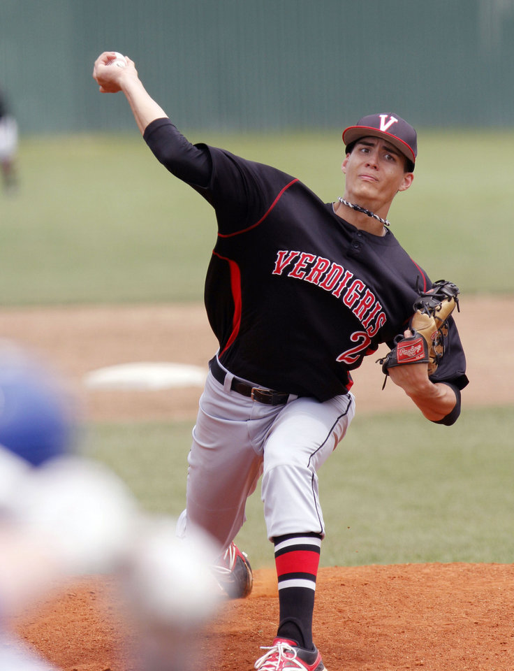 Photo - Verdigris' Blake Battenfield pitches during the Class 3A state baseball tournament between Verdigris and Oklahoma Christian at Deer Creek High School in Oklahoma City, OK, Thursday, May 9, 2013,  By Paul Hellstern, The Oklahoman