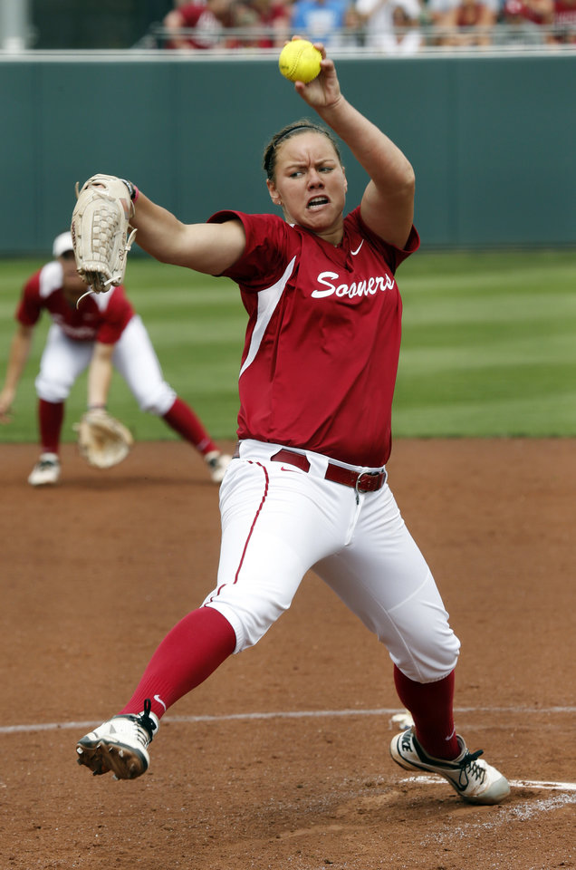 Photo - Pitcher Keilani Ricketts throws during the NCAA Super Regional softball game as the University of Oklahoma (OU) Sooners defeat Texas A&M 8-0 at Marita Hines Field on Saturday, May 25, 2013 in Norman, Okla. to advance to the College World Series.  Photo by Steve Sisney, The Oklahoman