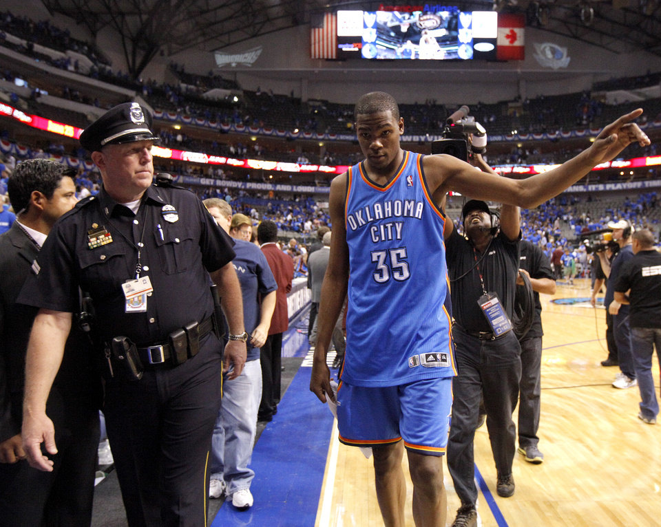 Oklahoma City's Kevin Durant (35) walks off the court after winning game 2 of the Western Conference Finals in the NBA basketball playoffs between the Dallas Mavericks and the Oklahoma City Thunder at American Airlines Center in Dallas, Thursday, May 19, 2011. Photo by Bryan Terry, The Oklahoman