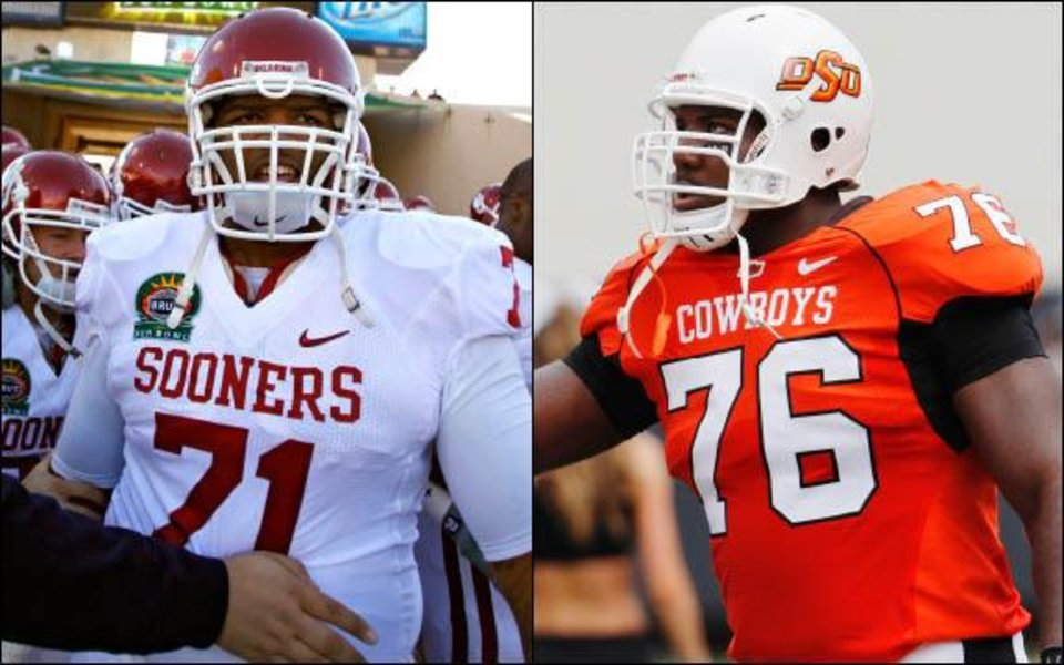 Photo - Former Oklahoma lineman Trent Williams, left, and former Oklahoma State lineman Russell Okung, right, are two of the top prospects in the 2010 NFL Draft. AP AND OKLAHOMAN ARCHIVE PHOTOS
