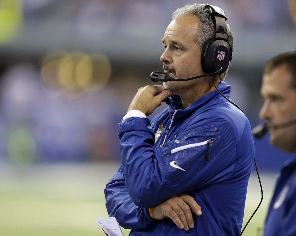 Photo - Indianapolis Colts head coach Chuck Pagano looks on during the first half of an NFL football game against the St. Louis Rams in Indianapolis, Sunday, Nov. 10, 2013. (AP Photo/Darron Cummings)