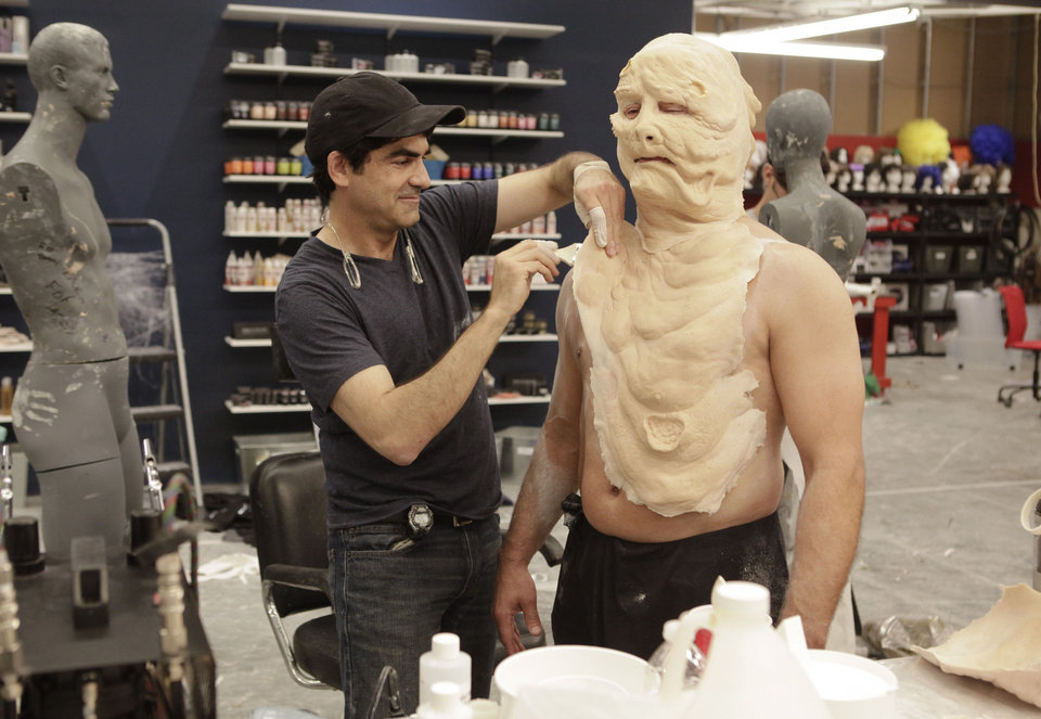 "Contestant Rod Maxwell works on a makeup creation for ""Face Off,"" which wraps up Season 3 with a live show at 8 p.m. Wednesday on Syfy. Syfy photo"
