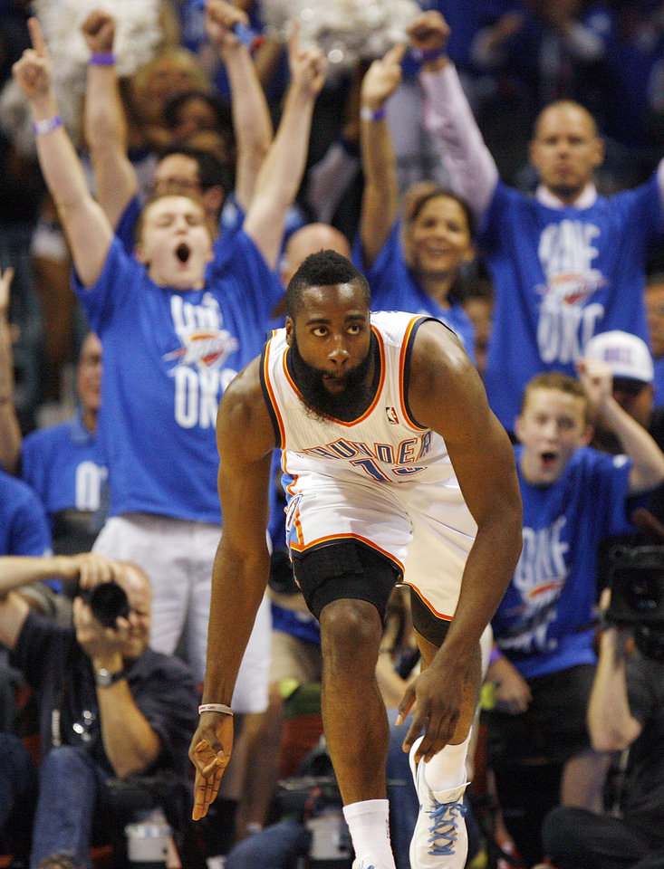 ALTERNATE CROP: Oklahoma City's James Harden (13) celebrates a 3-point shot in the first half during Game 3 of the Western Conference Finals between the Oklahoma City Thunder and the San Antonio Spurs in the NBA playoffs at the Chesapeake Energy Arena in Oklahoma City, Thursday, May 31, 2012.  Photo by Nate Billings, The Oklahoman