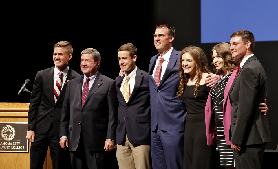 Photo -  Oklahoma gubernatorial candidates pose for a group photo after the debate at Oklahoma City Community College on Thursday night. From left are Jayke Flaggart of Choctaw High School, Democrat Drew Edmondson, Cade Jenlink of Timberlake High School, Republican Kevin Stitt, Emily Kennedy of Edmond North High School, Courtney Tillinghast of Owasso High School and Peyton Burns of Kingfisher High School. [Photo by Jim Beckel, The Oklahoman]