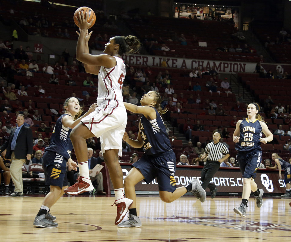 Photo - Oklahoma's Kaylon Williams shoots a lay up during the college women's basketball game between the University of Oklahoma and University of Central Oklahoma at the Lloyd Noble Center in Norman, Okla., Tuesday, Nov. 5, 2013. Photo by Sarah Phipps, The Oklahoman