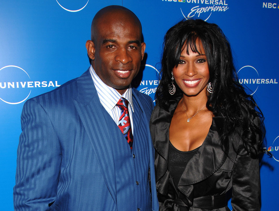 Photo -   In a May 12, 2008 photo Deion Sanders and Pilar Sanders attend the NBC Universal Experience at Rockefeller Center in New York. An inmate listing on Collin County, Texas, website early Tuesday April 24, 2012, shows that Pilar Sanders was arrested Monday and booked into the county jail on the family violence charge. (AP Photo/Peter Kramer)