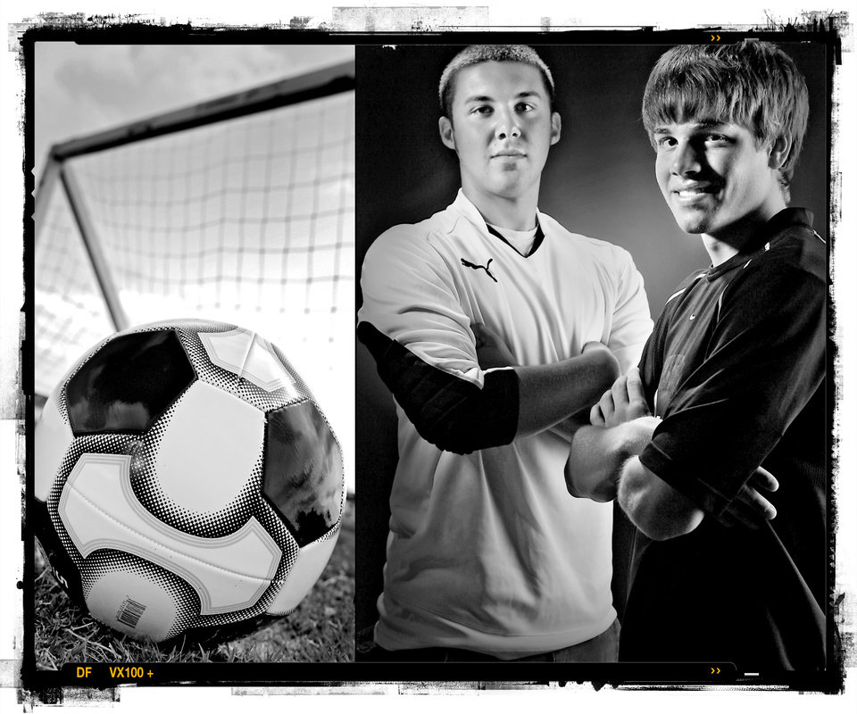 SECOND PLACE, PHOTO PACKAGE:  Edmond Memorial High School's Steven Darnell soccer defensive player of the year and Norman North High School's Corey Albertson soccer offensive player of the year , from left, Spring sports honor roll shot in the OPUBCO studio on Thursday, May 22, 2008, in Oklahoma City, Okla.  staff photo ILLUSTRATION by CHRIS LANDSBERGER