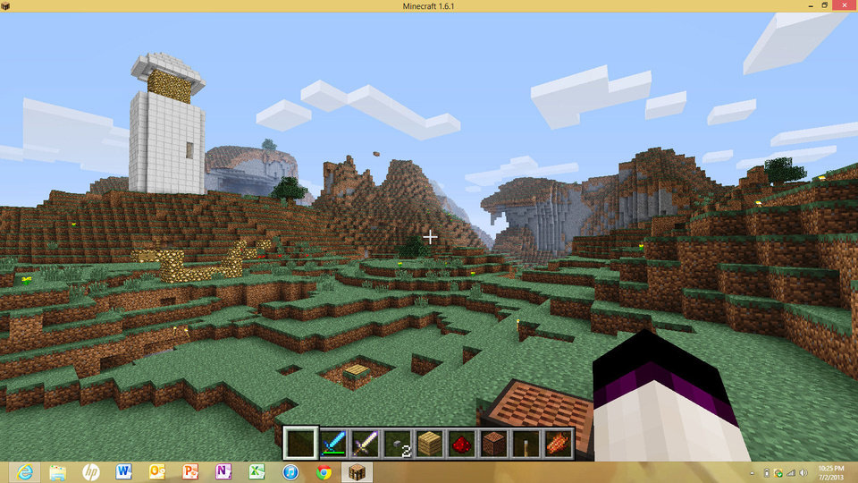 Photo - In the game Minecraft, you can play inside or outside, and the environment of both is still built on virtual blocks.