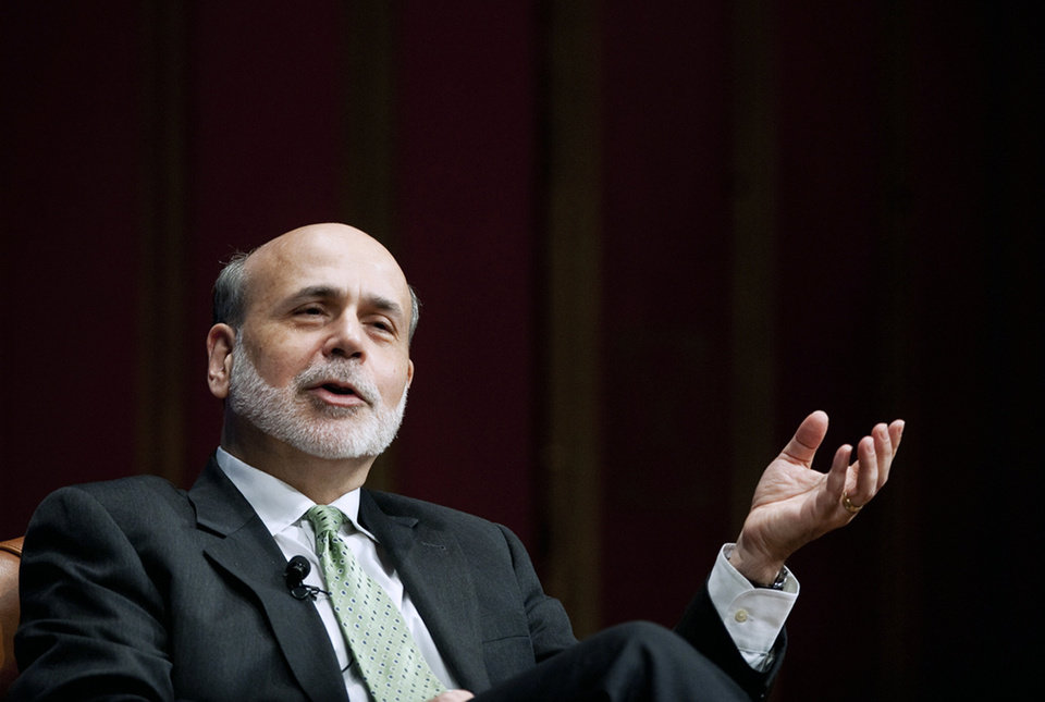 Federal Reserve Chairman Ben Bernanke speaks at Rackham Auditorium on Monday, Jan. 14, 2013, at the University of Michigan in Ann Arbor, Mich. (AP Photo/AnnArbor.com, Daniel Brenner) LOCAL TV OUT; LOCAL INTERNET OUT