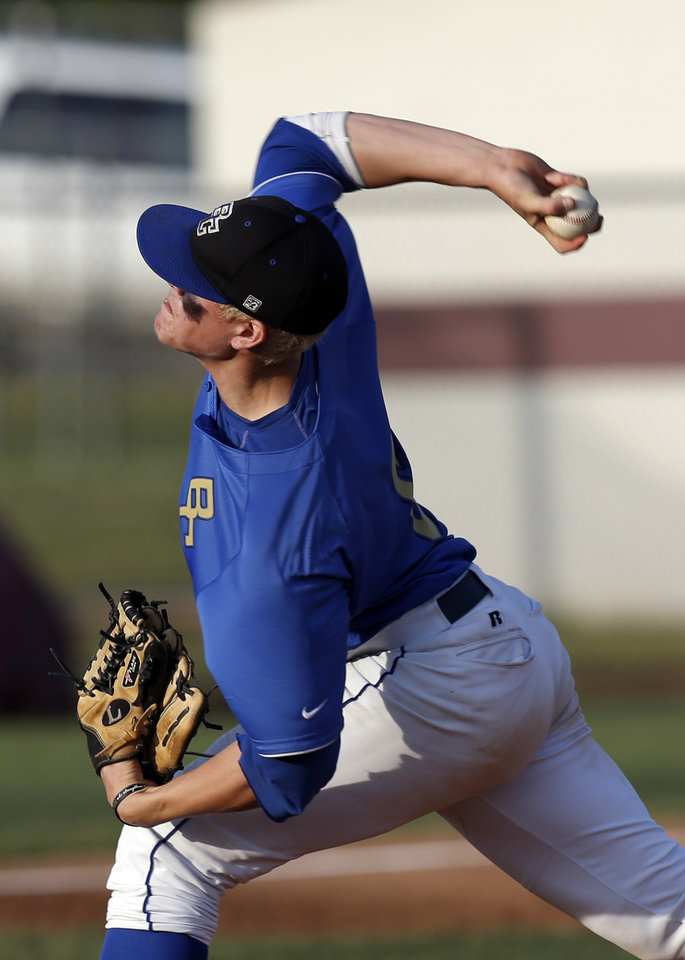 Berryhill\'s Nick White throws a pitch during the 4A high school baseball state championship tournament between Tuttle and Berryhill at Edmond Memorial High School in Edmond, Okla., Friday, May 10, 2013. Photo by Sarah Phipps, The Oklahoman