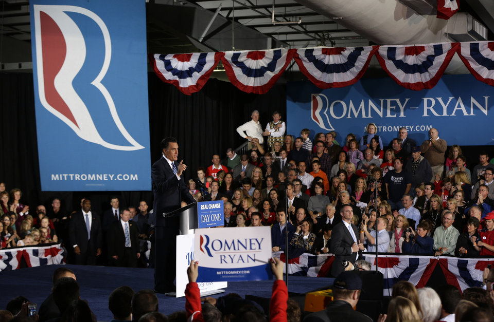Photo -   Republican presidential candidate, former Massachusetts Gov. Mitt Romney gestures as he speaks at a campaign stop at the Wisconsin Products Pavilion at State Fair Park in West Allis, Wis., Friday, Nov. 2, 2012. (AP Photo/Charles Dharapak)