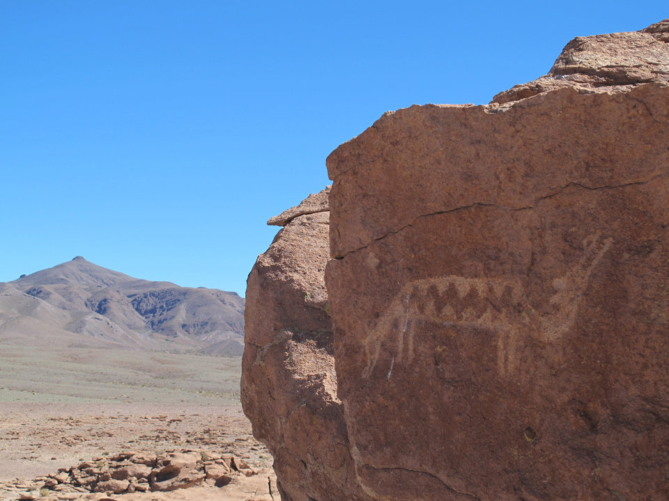 Photo -   This August 2012 photo shows a petroglyph of a two-headed creature in Yerbas Buenas, San Pedro de Atacama in Chile. Thousands of petroglyphs decorate these rocks. (AP Photo/Karen Schwartz)