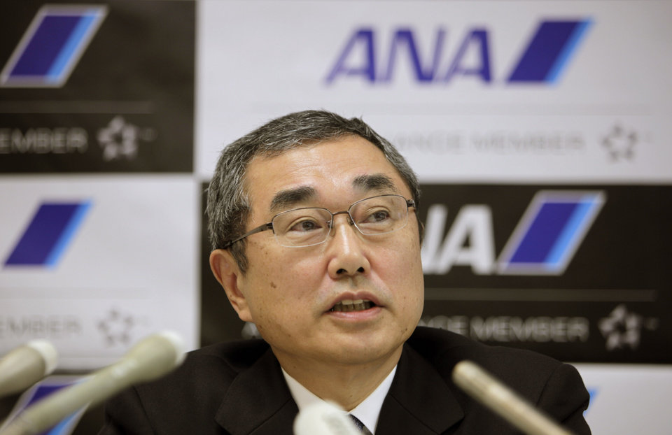 Photo - All Nippon Airways' Chief Executive Officier and President Shinichiro Ito speaks during a press conference at the company's office in Tokyo Friday, March 1, 2013. The president of ANA, Boeing's biggest single customer for its troubled 787 Dreamliner, said Friday that he believes the U.S. manufacturer has made progress in resolving problems with the aircraft's lithium-ion batteries. (AP Photo/Junji Kurokawa)