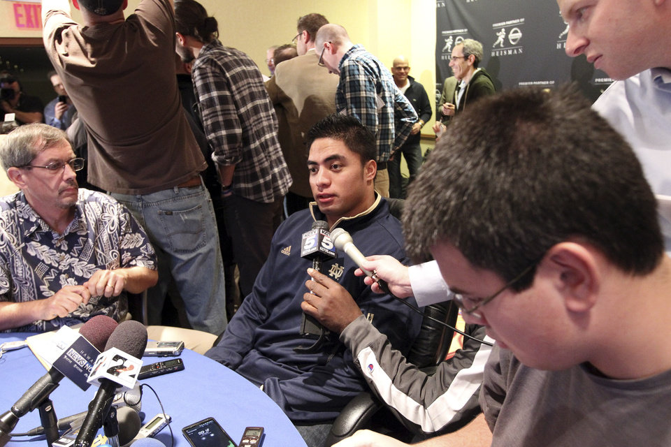 Notre Dame linebacker Manti Te\'o, a Heisman Trophy finalist, speaks to reporters during a media availability, Friday, Dec. 7, 2012 in New York. (AP Photo/Mary Altaffer)