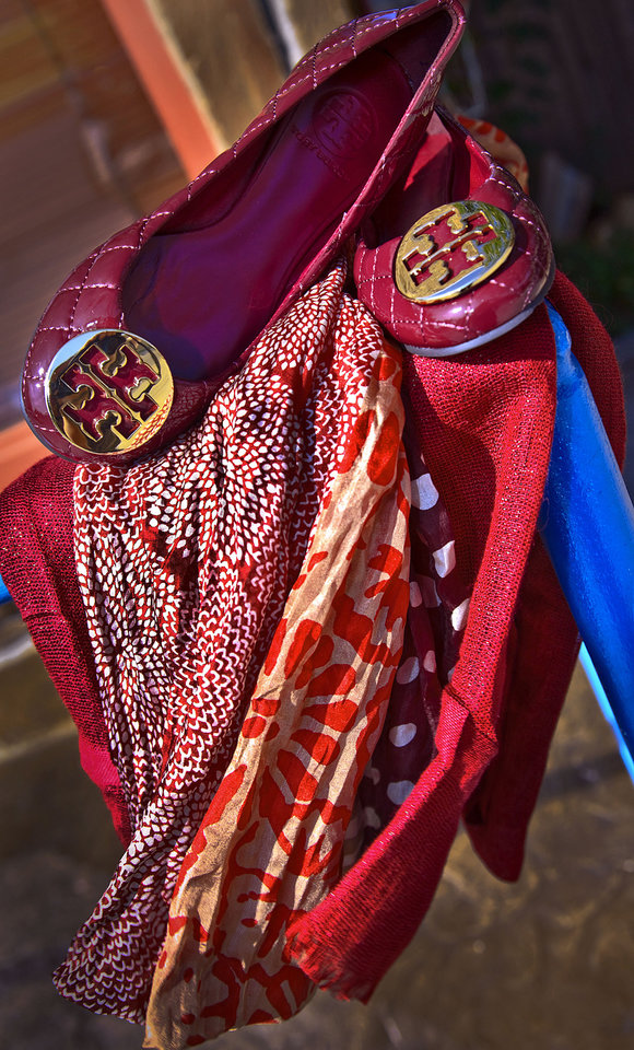 Tory Burch quilted ballet flats, Michael Stars print scarf and Love Quotes linen scarf with metallic threads, from Cayman's Clothiers, Norman. Photo by Chris Landsberger, The Oklahoman. <strong>CHRIS LANDSBERGER</strong>