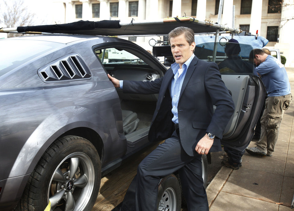 Actor Casper Van Dien prepares for a car scene in �Higher Mission,� being filmed Friday at the Scottish Rite Temple in Guthrie.  Photo by Paul Hellstern, The Oklahoman