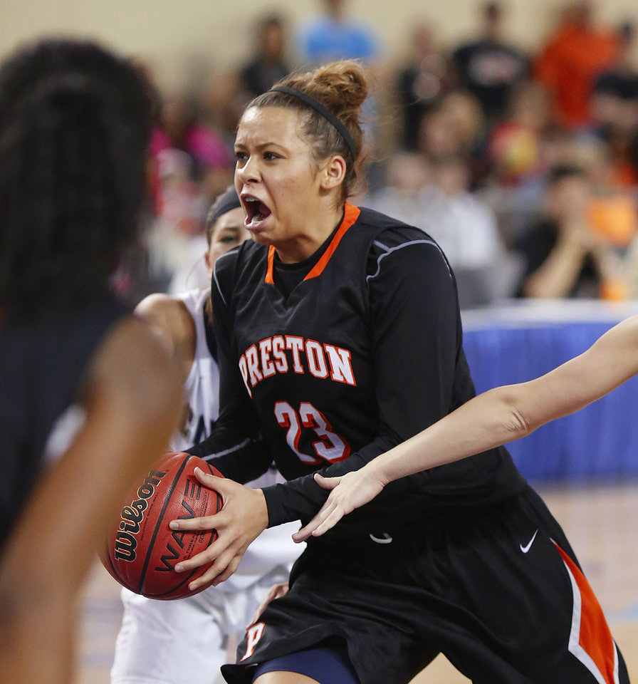 Photo - Preston starter Chelsea Dungee during the Class 2A Girls State Championship game between Preston and Cordell at Jim Norick Arena at State Fair Park  on Saturday, Mar. 15, 2014.  Preston won,  45-41. Photo by Jim Beckel, The Oklahoman