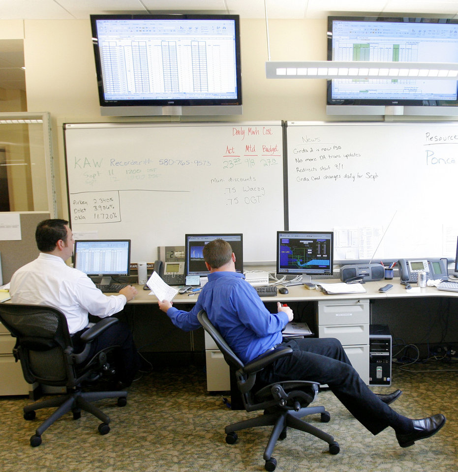 Charles Gonzales, left, and Ben Fearnow, work in the operations center at the Oklahoma Power Municipal Authority, in Edmond, Okla., Thursday, Sept. 11, 2008 BY MATT STRASEN, THE OKLAHOMAN.
