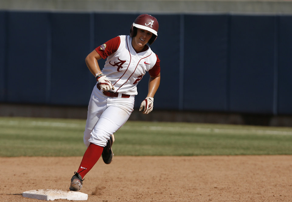Alabama's Jazlyn Lunceford (2) runs the bases after hitting a home run during a Women's College World Series game between Alabama and California at ASA Hall of Fame Stadium in Oklahoma City, Sunday, June 3, 2012.  Photo by Garett Fisbeck, The Oklahoman