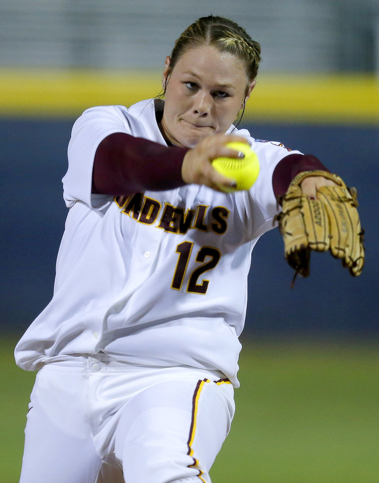 Arizona State's Dallas Escobedo pitches against Michigan during their Women's College World Series softball game at ASA Hall of Fame Stadium in Oklahoma City, Sunday, June, 2, 2013. Photo by Bryan Terry, The Oklahoman