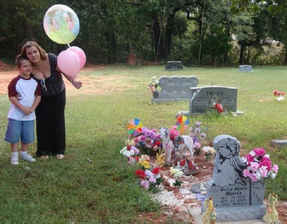 Christina Potter and her son, Jordan Morris, visit the grave site of Jordan's sister, Alexis Morris. <strong>Photo provided - Photo provided</strong>