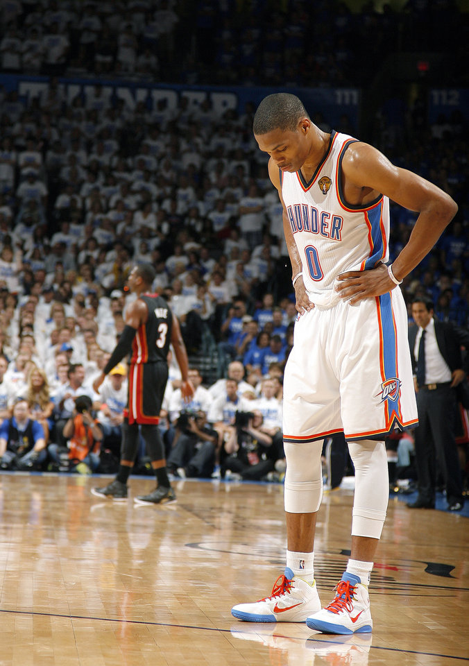 Oklahoma City's Russell Westbrook (0) reacts during Game 2 of the NBA Finals between the Oklahoma City Thunder and the Miami Heat at Chesapeake Energy Arena in Oklahoma City, Thursday, June 14, 2012. Photo by Sarah Phipps, The Oklahoman