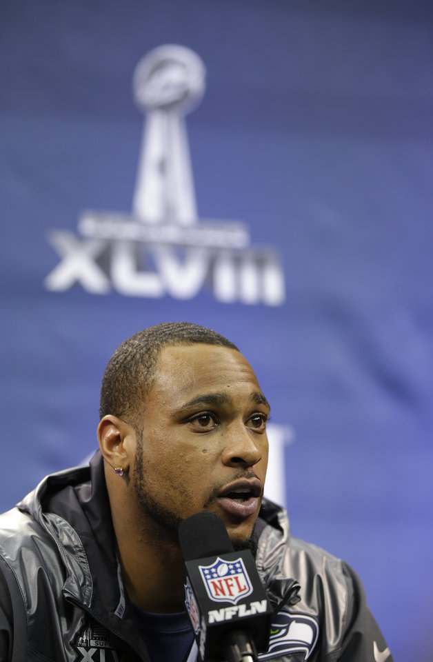 Photo - Seattle Seahawks' Percy Harvin speaks during media day for the NFL Super Bowl XLVIII football game Tuesday, Jan. 28, 2014, in Newark, N.J. (AP Photo/Matt Slocum)