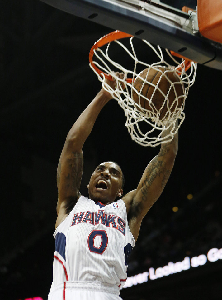Atlanta Hawks point guard Jeff Teague (0) scores in the first half of an NBA basketball game against the Brooklyn Nets, Wednesday, Jan. 16, 2013, in Atlanta. (AP Photo/John Bazemore)