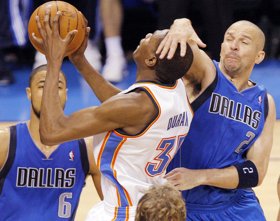 Jason Kidd (2) of Dallas fouls Kevin Durant (35) of Oklahoma City near Tyson Chandler (6) of Dallas in the second half during game 3 of the Western Conference Finals of the NBA basketball playoffs between the Dallas Mavericks and the Oklahoma City Thunder at the OKC Arena in downtown Oklahoma City, Saturday, May 21, 2011. Dallas won, 93-87. Photo by Nate Billings, The Oklahoman