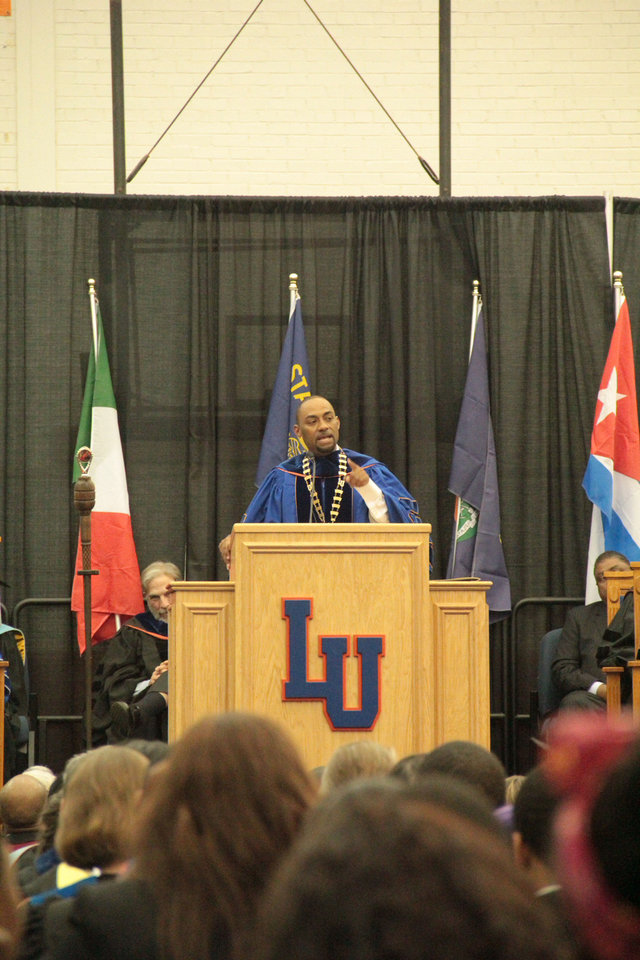 Langston University President Kent Smith addresses a crowd Thursday at the university�s investiture ceremony. Photo provided