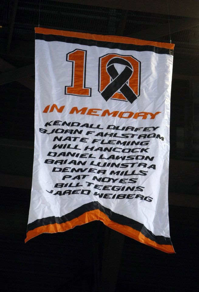 The No. 10 is retired during a halftime ceremony at the basketball game between Oklahoma State and Texas, Wednesday, Jan. 26, 2011, at Gallagher-Iba Arena in Stillwater, Okla. Photo by Sarah Phipps, The Oklahoman
