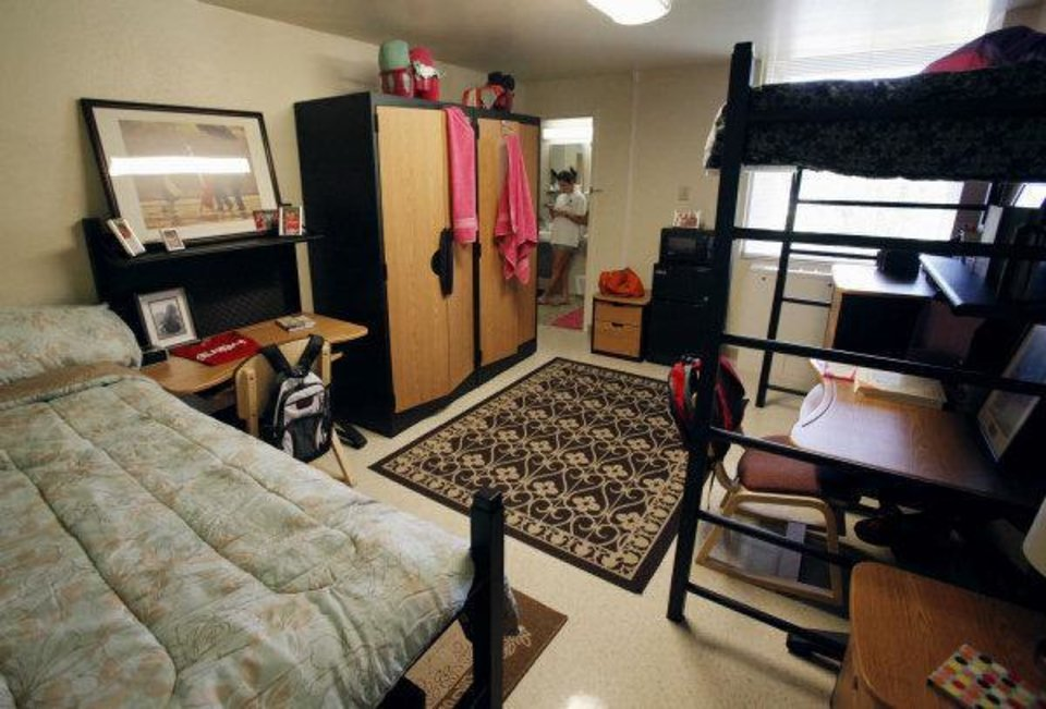 Photo - University of Oklahoma students have an option of living in a suite with two bedrooms and a common bathroom. This photo shows a model suite at Walker Tower in Norman. Photo by Steve Sisney, The Oklahoman ORG XMIT: KOD  STEVE SISNEY - THE OKLAHOMAN