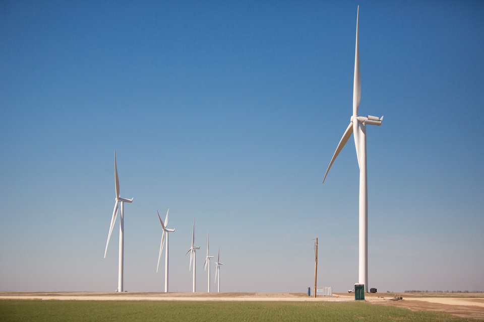 Photo - Turbines from the Cowboy wind farm near Blackwell, Okla., are shown in this undated picture from Oklahoma State University.  Provided photo - Provided photo