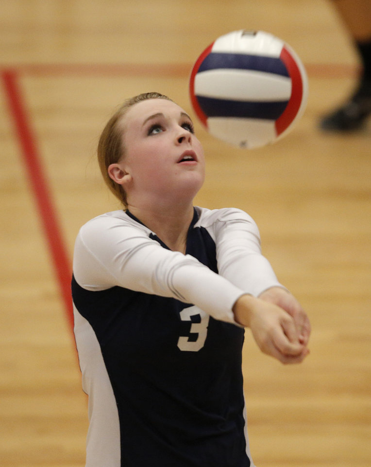 Cascia Hall's Carly Newell (3) sets the ball during the OSSAA 5A State Volleyball Championship between Cascia Hall and Heritage Hall at Westmoore High School in Moore, Okla., Saturday, Oct. 13, 2012.  Photo by Garett Fisbeck, The Oklahoman