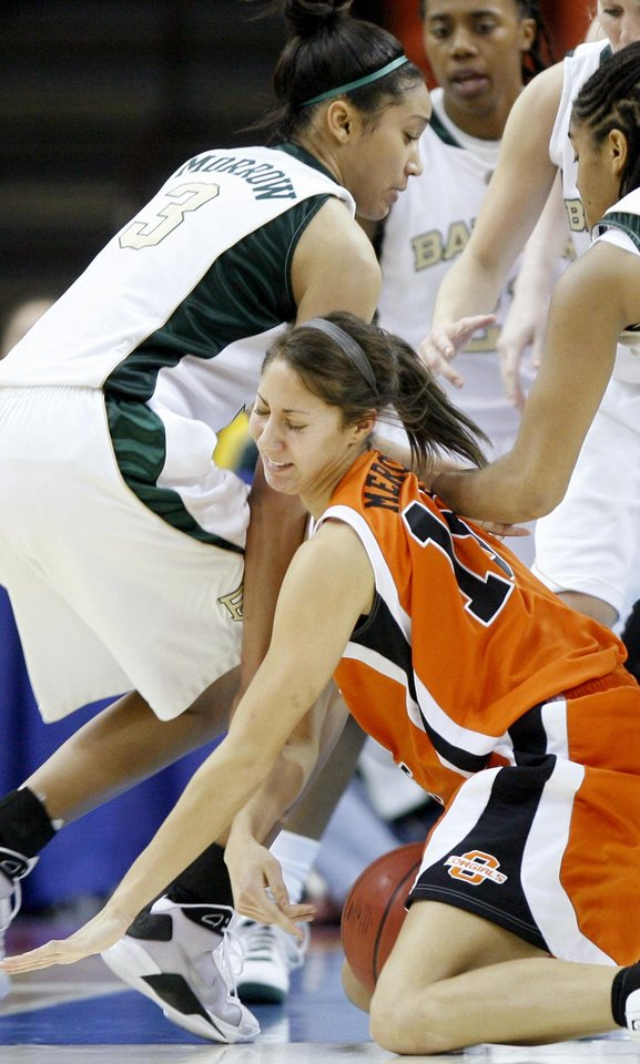 Photo - OSU's Melinda Mercardo runs into Baylor's Kelsey Hatcher during the Big 12 Women's Championship game between Oklahoma State and Baylor at the Cox Center in Oklahoma City, Friday, March 13, 2009. OSU lost to Baylor 67-62.  PHOTO BY BRYAN TERRY, THE OKLAHOMAN
