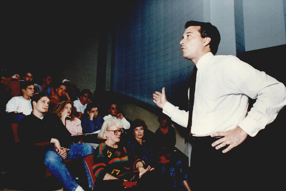 Photo - Students at Putnam City West High School listened in 1991 as then-Gov. David Walters discussed education, particularly House Bill 1017. [Photo by Steve Gooch, The Oklahoman Archives]
