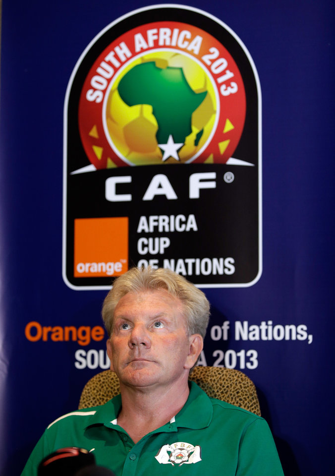 Photo - Burkina Faso's soccer head coach Paul Put, from Belgium, listens to questions during a news conference, in Nelspruit, South Africa, Tuesday, Feb. 5, 2013. Burkina Faso will play Ghana in a African Cup of Nations semifinal Wednesday at the Mbombela stadium in Nelspruit. (AP Photo/Armando Franca)