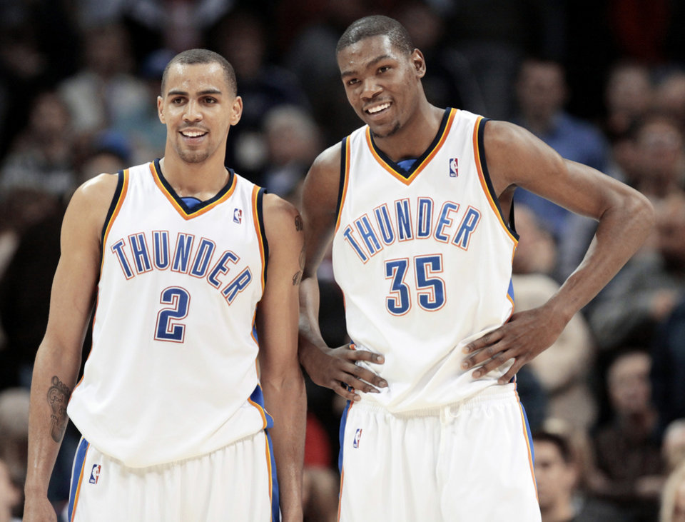 Thabo Sefolosha, left, Kevin Durant and the Thunder are 19-6 this season against Eastern Conference opponents. PHOTO BY DOUG HOKE, THE OKLAHOMAN