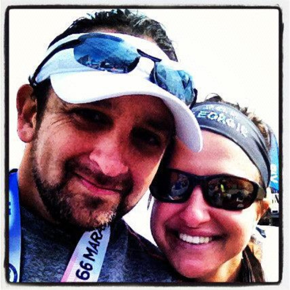 Desi Stoops and his wife, Georgie, who's also running the marathon <strong></strong>