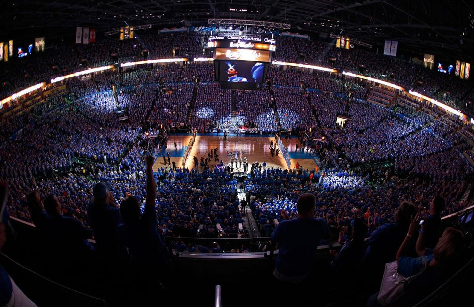 The crowd cheers before the start of  Game 1 of the NBA Finals between the Oklahoma City Thunder and the Miami Heat at Chesapeake Energy Arena in Oklahoma City, Tuesday, June 12, 2012. Photo by Bryan Terry, The Oklahoman