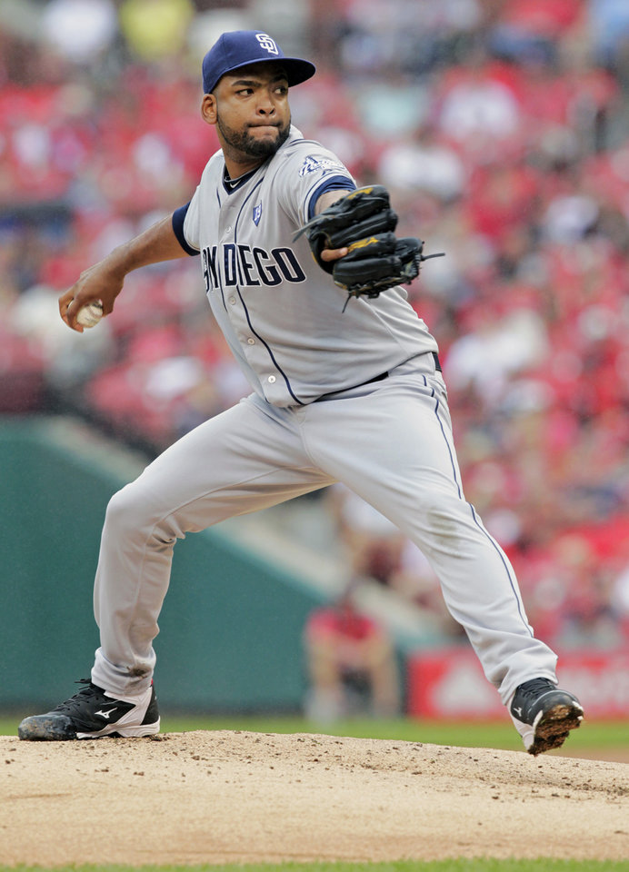 Photo - San Diego Padres starting pitcher Odrisamer Despaigne (40) sets to pitch in the second inning of a baseball game against the St. Louis Cardinals, Sunday, Aug. 17, 2014, in St. Louis. (AP Photo/Tom Gannam)