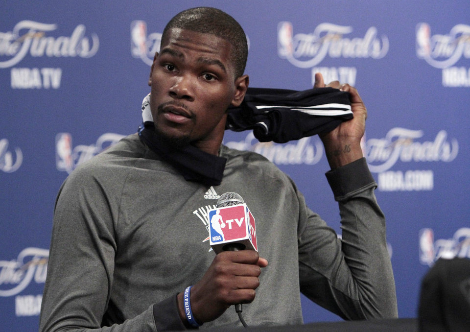 Oklahoma City Thunder's Kevin Durant speaks with the media after practice in preparation for game two of the NBA basketball finals at the Chesapeake Arena on Wednesday, June 13, 2012 in Oklahoma City, Okla.  Photo by Steve Sisney, The Oklahoman