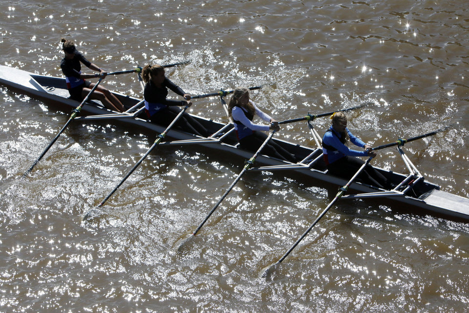 The Texas Rowing B team competes in the Oklahoma Regatta Festival on the Oklahoma River in Oklahoma City, OK, Saturday, October 5, 2013,  Photo by Paul Hellstern, The Oklahoman