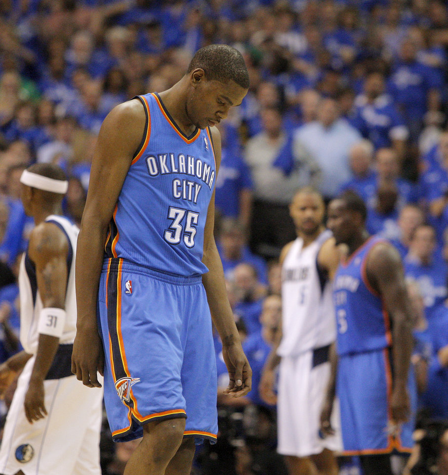 Oklahoma City's Kevin Durant (35) walks back to the bench during game 1 of the Western Conference Finals in the NBA basketball playoffs between the Dallas Mavericks and the Oklahoma City Thunder at American Airlines Center in Dallas, Tuesday, May 17, 2011. Photo by Bryan Terry, The Oklahoman