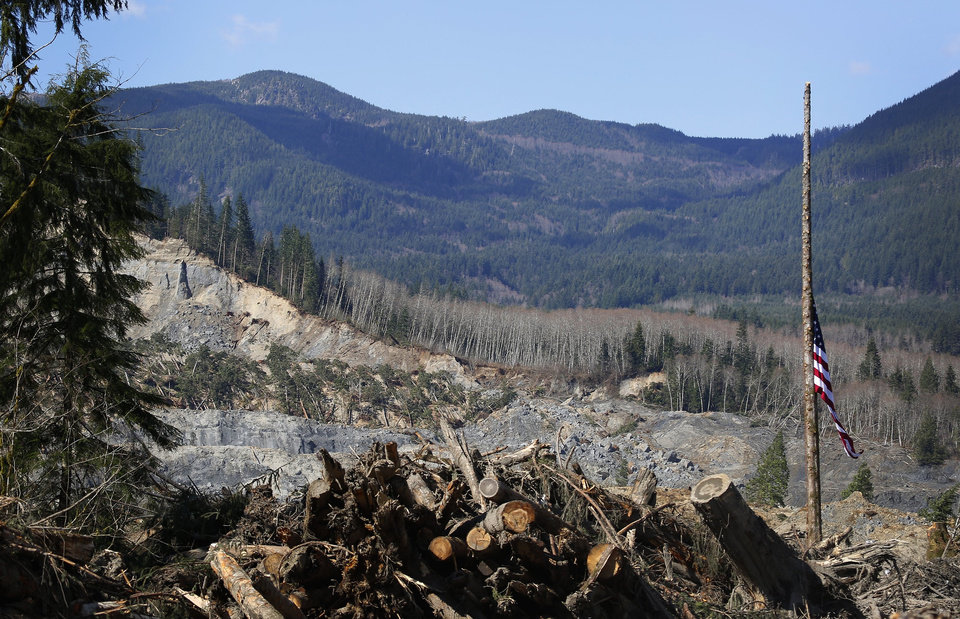 Photo - An American flag found in the debris hangs at half-staff on a single standing tree, with the slide site in the background, at the west site of the mudslide on Highway 530, near Oso, Wash., on Tuesday, April 1, 2014. The death toll from the March 22 mudslide has increased to 28. (AP Photo/The Seattle Times, Lindsey Wasson)  SEATTLE OUT; USA TODAY OUT; MAGS OUT; TELEVISION OUT; NO SALES; MANDATORY CREDIT TO BOTH THE SEATTLE TIMES AND THE PHOTOGRAPHER